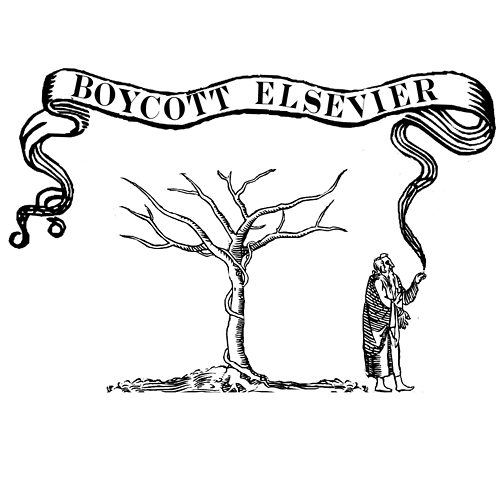 """Academic Spring"" protest image. Elsevier tree, bared"