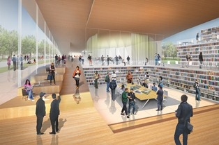 repositories: gathering and opening (img: Design Loft concept for Kent State's College of Architecture and Environmental Design building, by Weiss/Manfredi architects)
