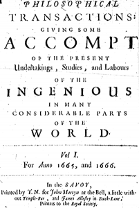 title page of 1st issue of the Philosophical Transactions, 1665.