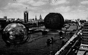 Proposal for floating monument on the Thames, by Claes Oldenburg.