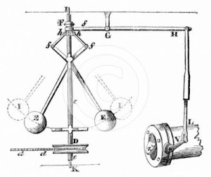 "James Watts' ""centrifugal governor"" 1788"